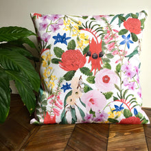 Load image into Gallery viewer, Floral Emblems Cushion Cover Cotton Drill Silken Twine Cushion Cover