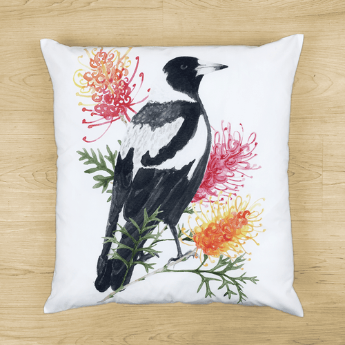 Magpie and Grevillea Cushion Cover Side Canvas Silken Twine Cushion Cover