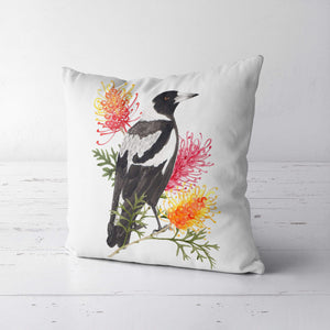Magpie and Grevillea Cushion Cover Side Cotton Drill Silken Twine Cushion Cover