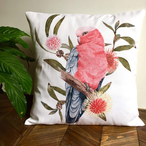 Pink and Grey Galah Cushion Cover Cotton Drill Silken Twine Cushion Cover