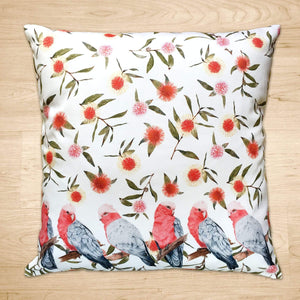 Pink and Grey Galah's Cushion Cover Cotton Drill Silken Twine Cushion Cover