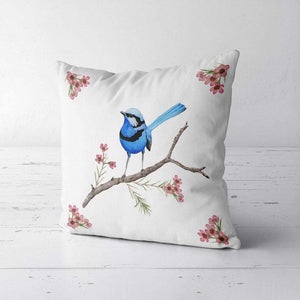 Splendid Blue Wren Cushion Cover Canvas Silken Twine Cushion Cover