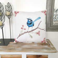 Load image into Gallery viewer, Splendid Blue Wren Cushion Cover Cotton Drill Silken Twine Cushion Cover