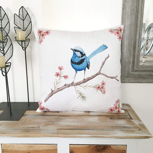 Splendid Blue Wren Cushion Cover Cotton Drill Silken Twine Cushion Cover