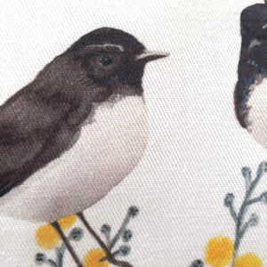 Willie Wagtail and Wattles Cushion Cover 5 birds Cotton Drill Silken Twine Cushion Cover