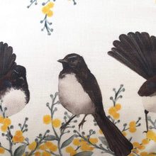 Load image into Gallery viewer, Willie Wagtail and Wattles Cushion Cover 5 birds Cotton Drill Silken Twine Cushion Cover