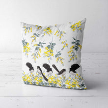 Load image into Gallery viewer, Willie Wagtail and Wattles Cushion Cover 5 birds Poplin Silken Twine Cushion Cover