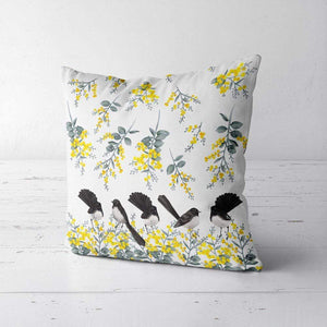 Willie Wagtail and Wattles Cushion Cover 5 birds Poplin Silken Twine Cushion Cover