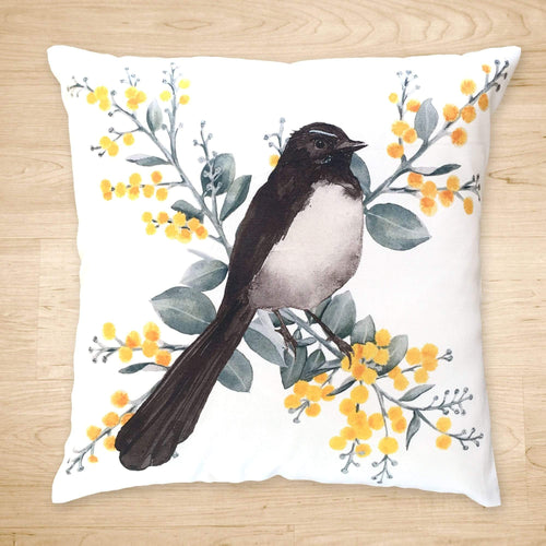 Willie Wagtail and Wattles Cushion Cover single bird Poplin Silken Twine Cushion Cover