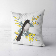 Load image into Gallery viewer, Willie Wagtail and Wattles Cushion Cover single bird Poplin Silken Twine Cushion Cover