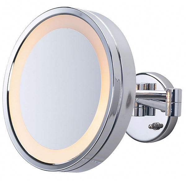 Jerdon Large Round 3x Halo-Lighted Wall-Mount Makeup Mirror - Plug-In or Hardwired