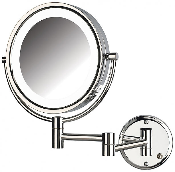 Jerdon Reversible 8x/1x LED-Lighted Hardwired Makeup Mirror - 2 Finishes