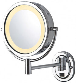 Jerdon Hardwired Reversible 5x/1x Wall-Mounted Makeup Mirror, Polished Chrome or Satin Nickel