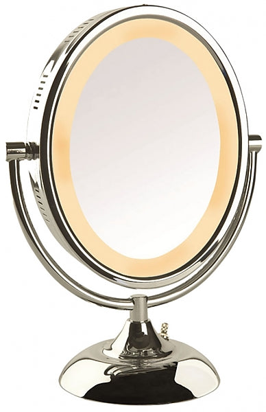 Jerdon Lighted 8x/1x Reversible Oval Vanity Mirror, Polished Chrome