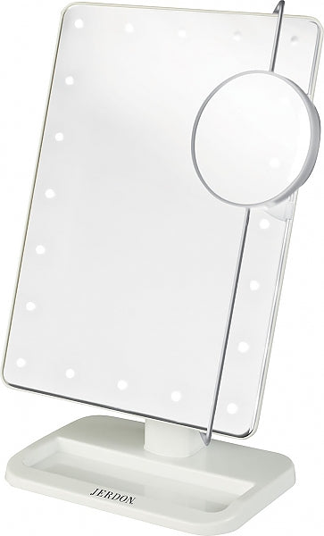 Jerdon Battery Operated LED Vanity Mirror with 10x Adjustable Spot Mirror