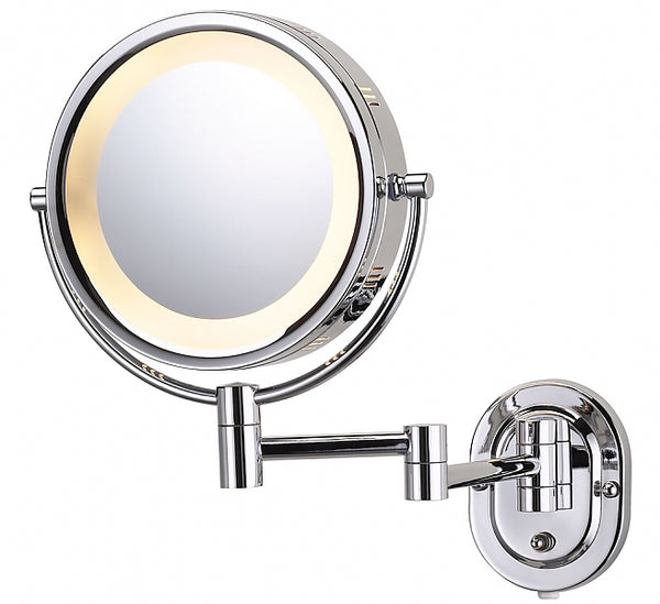 Jerdon Style Plug-In Reversible 5x/1x Makeup Mirror - 4 Finishes Including Polished Brass