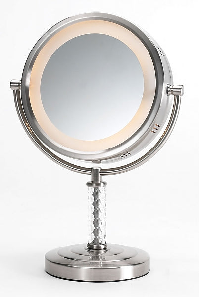 Jerdon 6x/1x Brushed Brass or Nickel Reversible Halo-Lighted Vanity Mirror