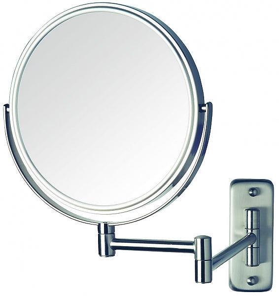 Jerdon Reversible 8x/1x Wall-Mount Makeup Mirror - 2 Finishes