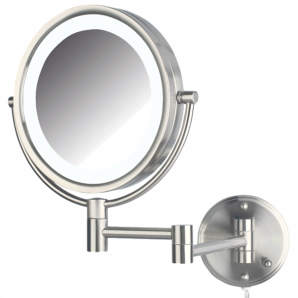 Jerdon Reversible 8x/1x LED-Lighted Plug-In Makeup Mirror - 2 Finishes