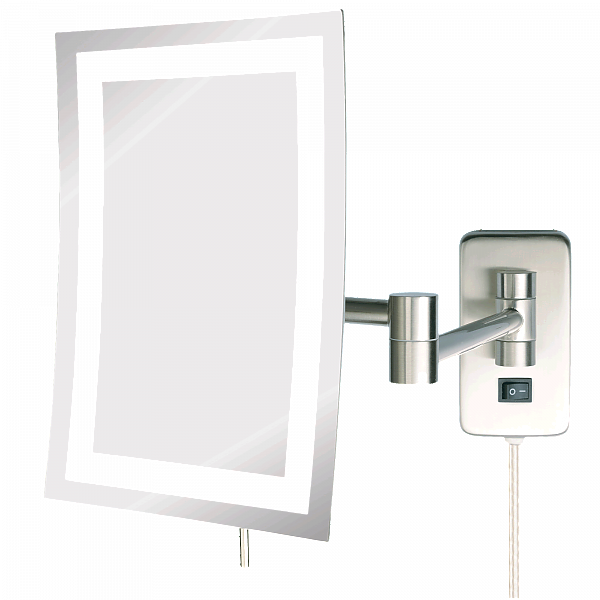 Jerdon Plug-In Minimalist Edge-to-Edge 5x LED Halo-Lighted Makeup Mirror - 2 Finishes