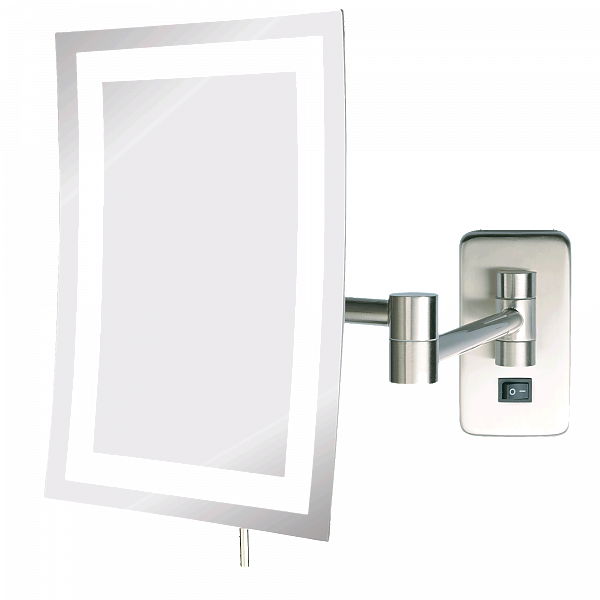 Jerdon Hardwired Minimalist Edge-to-Edge 5x LED Halo-Lighted vanity Mirror - 2 Finishes