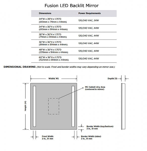 Electric Mirror Fusion Backlit Natural-Light LED Mirror with Clean, Strong Lines - 5 Sizes