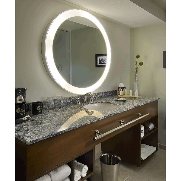 Electric Mirror Trinity LED Round Backlit Mirror has a Sleek Lighted Border and Wall Glow
