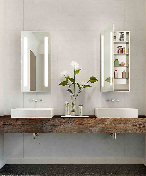 Electric Mirror Ascencion Mirrored Cabinet, LED Back-Lighted Columns, 3 Sizes, Hinged Left or Right
