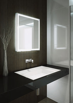 Aamsco Forte LED Backlit Mirror has Illuminated Side Glass Walls and an Illuminated Border - 2 Sizes