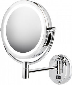Jerdon Hardwired Reversible 5x/1x Wall-Mounted LED Vanity Mirror, Polished Chrome
