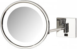 Jerdon Hardwired 5x LED Square-Mounting-Plate Makeup Mirror - Polished Chrome