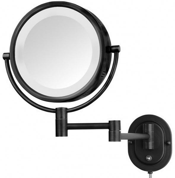 Jerdon Plug-In Reversible 5x/1x Makeup Mirror - 5 Finishes Including Polished Brass and Black