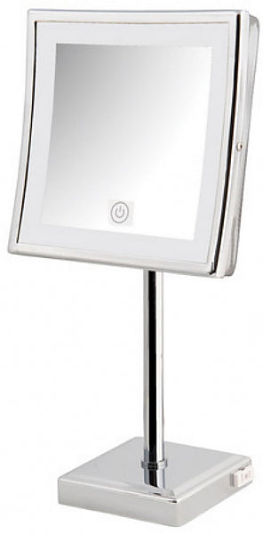 "Jerdon 5x LED 8.5"" Square LED Vanity Mirror with Brass Construction has Touch Controls"