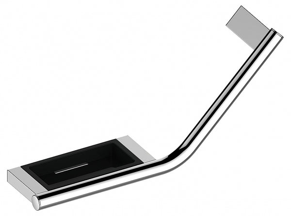 Keuco Plan 135° Grab Bar with Soap Holder, in Polished Chrome or Stainless Steel