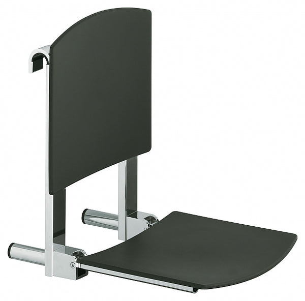 Keuco Plan Care Rail-Mounted Tip-Up Seat with Back Rest - 3 Finishes