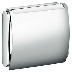 Keuco Plan Toilet Paper Holder with Lid in Polished Chrome or Stainless Steel Finish
