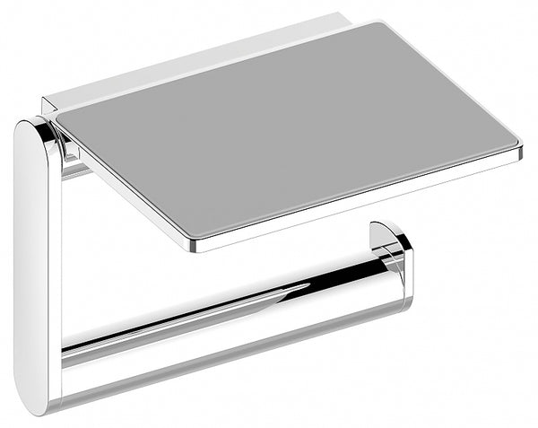 Keuco Plan Toilet Paper Holder with Shelf in Polished Chrome or Stainless Steel Finish