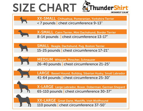 thundershirt size guide