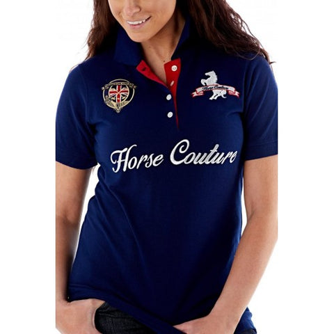 Horse Couture Milan Large Logo Polo Shirt - Navy