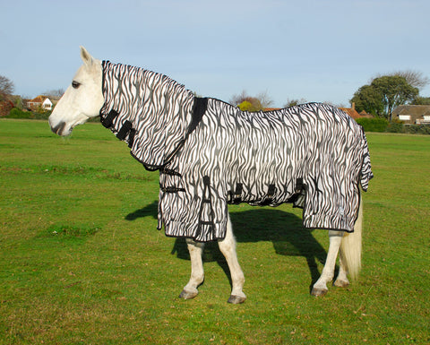 Savanna Zebra Print Full Neck Fly Rug With Side Skirts
