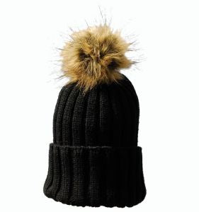 Black Bobble hat Silk Faux fur keeps ears warm when on the yard