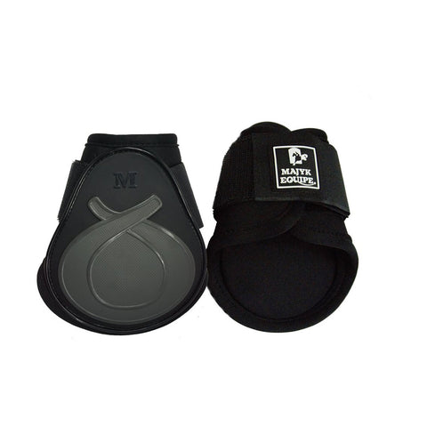 Light weight young horse (FEI legal) fetlock boot featuring dilatant foam impact protection. Black