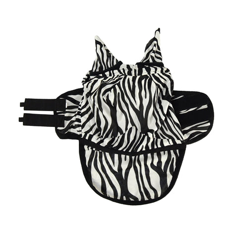 Zebra Fly Mask with Ears and Detachable Nos