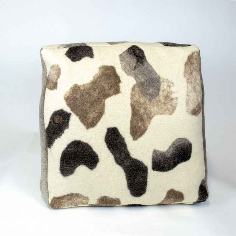 Large Textured Floor Cushion - Water Stones Natural Felted - JG Switzer