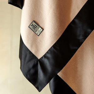 The Camille Blanket Black Border in 100% Silk Charmeuse