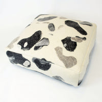Large Textured Floor Cushion - Water Stones Natural Felted
