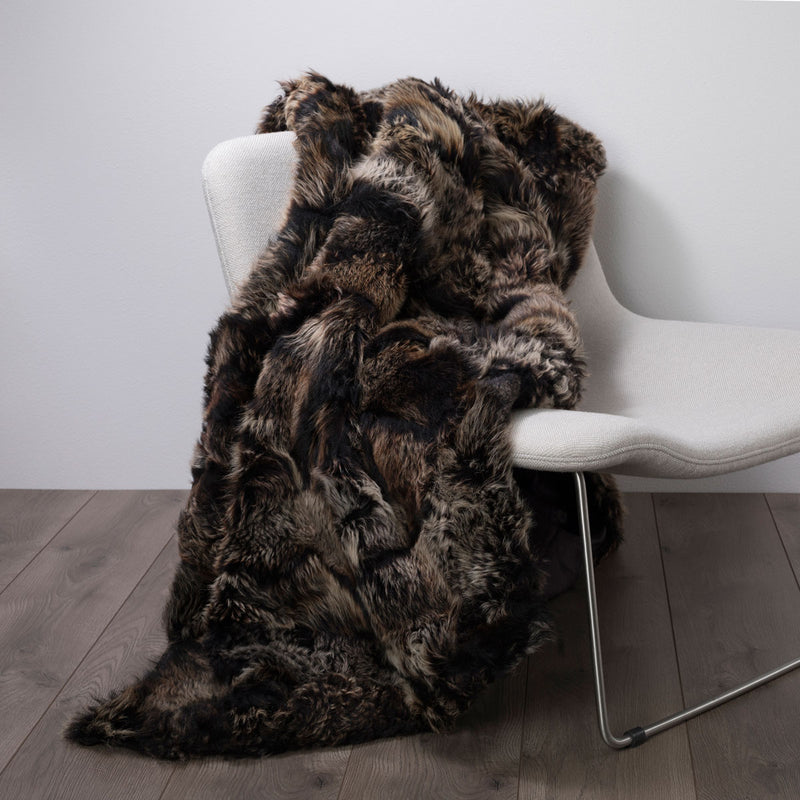 Real Fur Silk Lined Throw