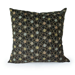 Kyoto Japan Cotton Pillow Circles + Black - JG Switzer
