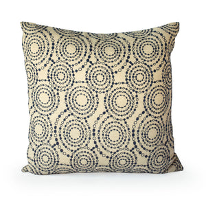Kyoto Japan Cotton Pillow Circles + Navy - JG Switzer