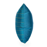 Lotus Flower Silk Pillow - Inle Lake Blue Triangle - JG Switzer